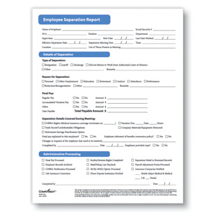 Employee Separation Report  - Complyright