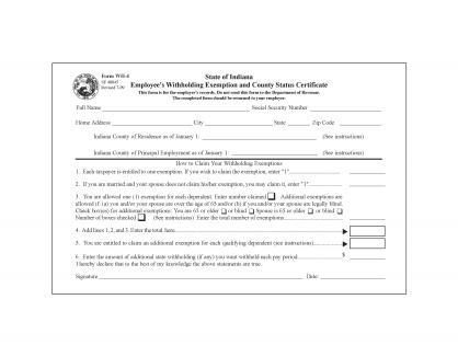 Indiana State Form W-4 - Download