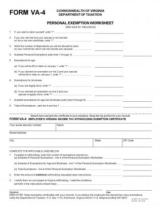 Virginia State Form W-4 - Download